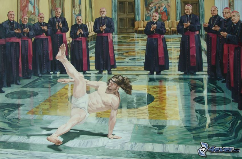 breakdance, jesus, parodi