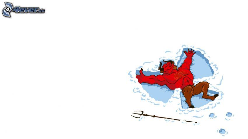 djävul, snö, ängel