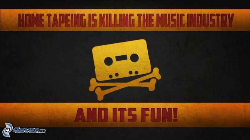 kasettband, Döden, text