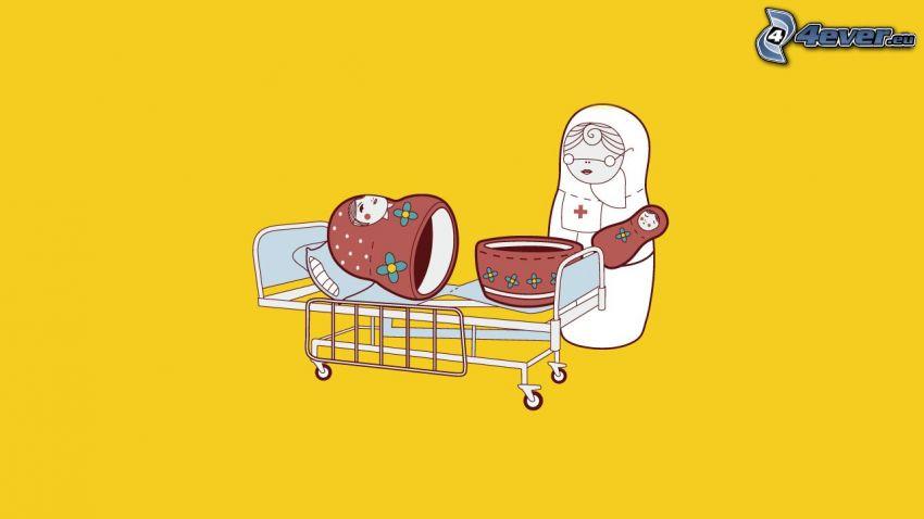 matrjosjka, förlossning