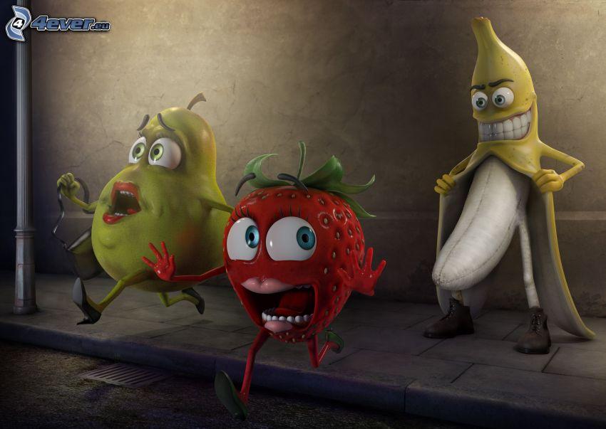 onormal, banan, frukt, päron, jordgubbe
