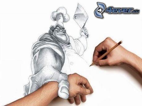 slaktare, teckning, yxa, händer
