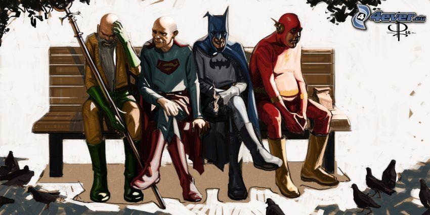 superhjältar, Superman, Batman, Flash, parodi