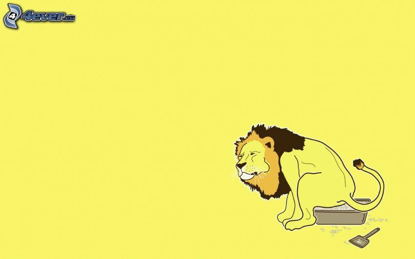tecknat lejon, toalett