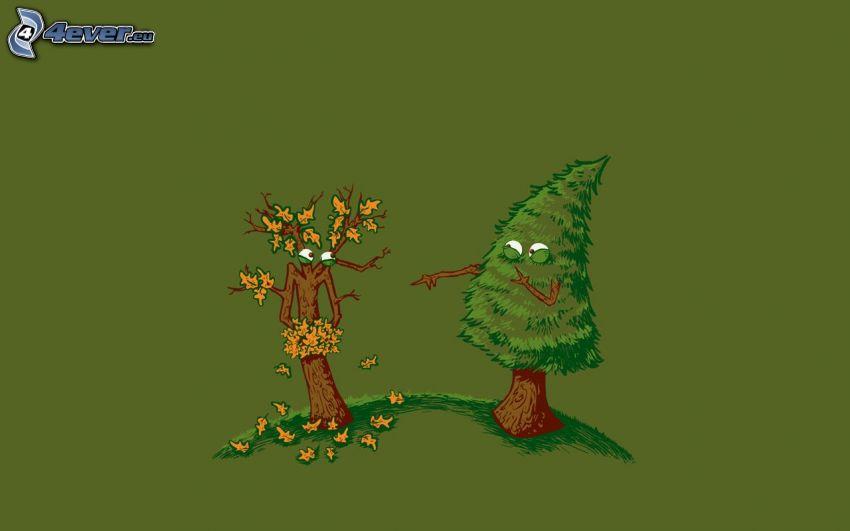 träd, nedfallna löv, nakenhet