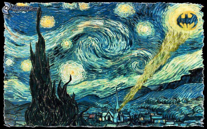 Vincent Van Gogh - Starry Sky, Batman, parodi