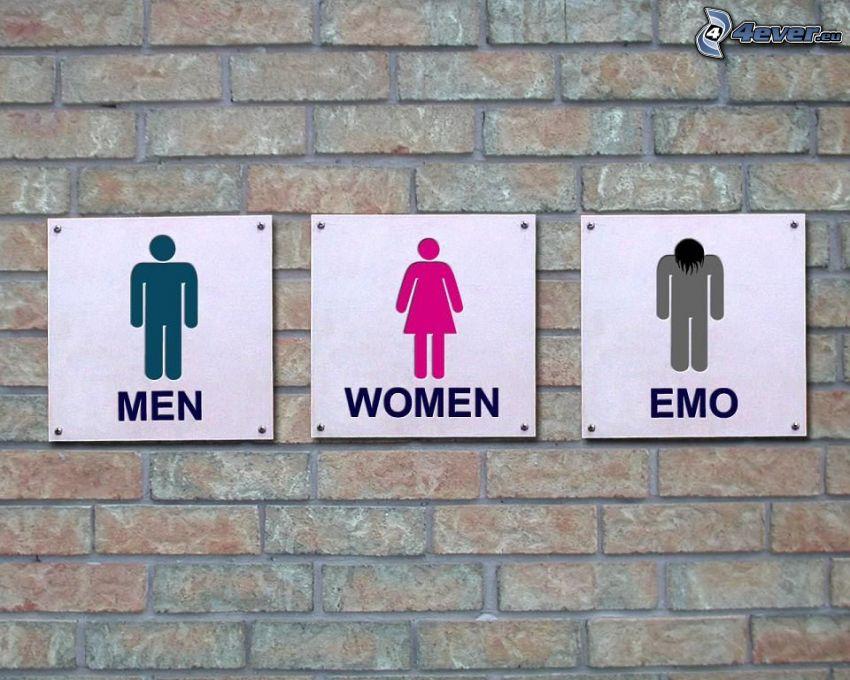 WC, män, kvinnor, emo
