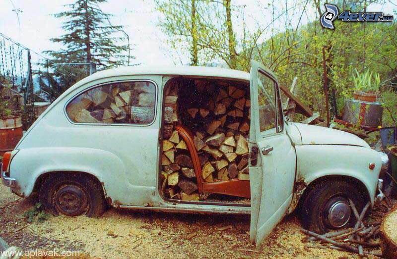 gammal bil, trä