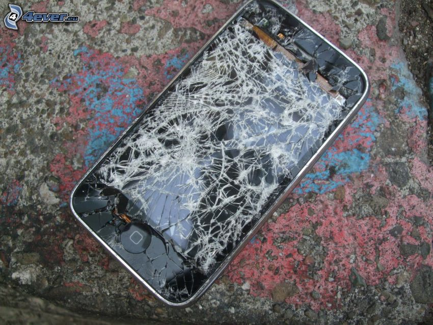 iPhone, krossat glas