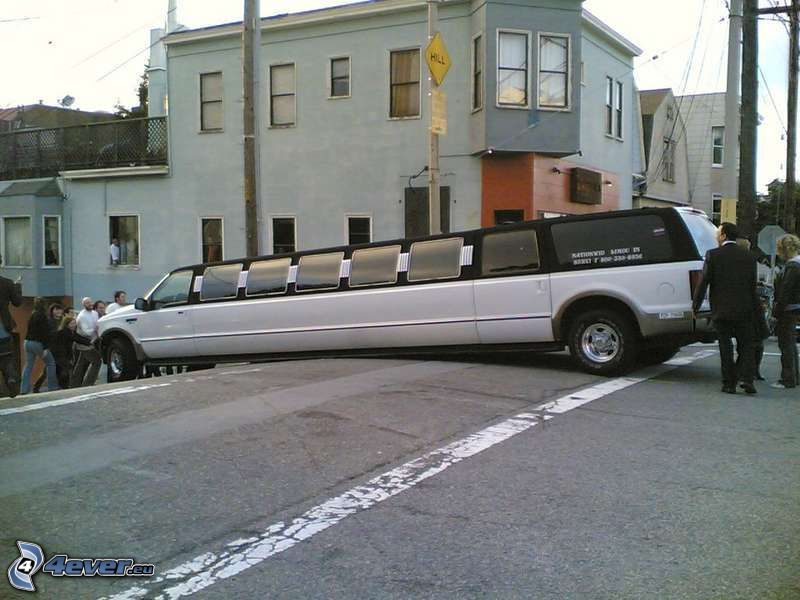 limousine, olycka, San Francisco, gata, hus