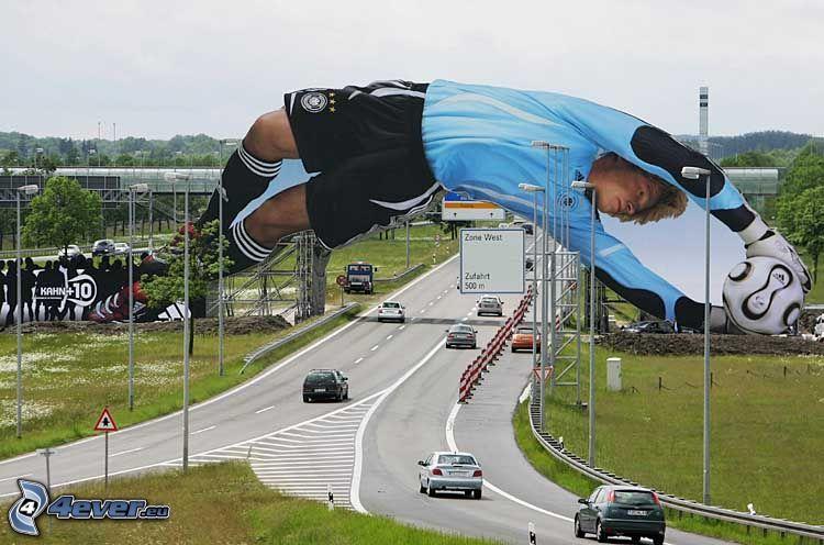 reklam, fotbollsspelare, Oliver Kahn, väg, bilar