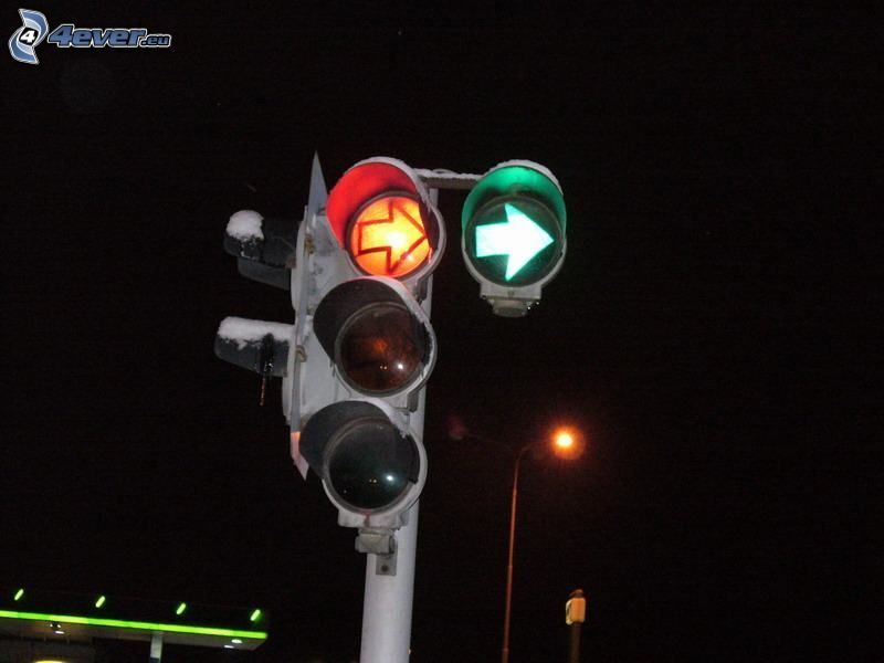 trafikljus, grön, röd