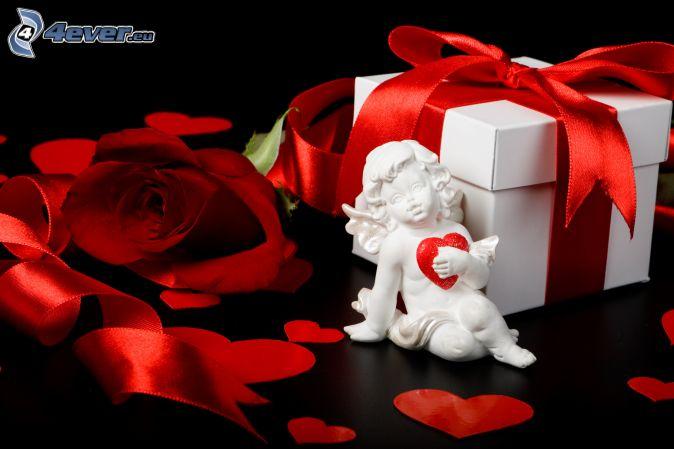 angelito, corazones rojos, rosa roja, regalo