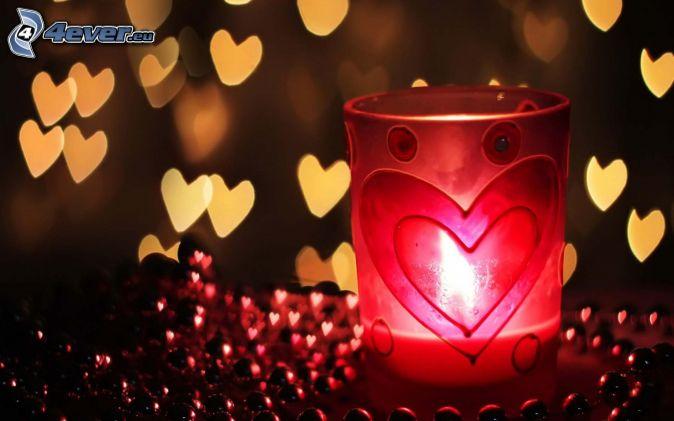 candelero, corazones, bolas rojas