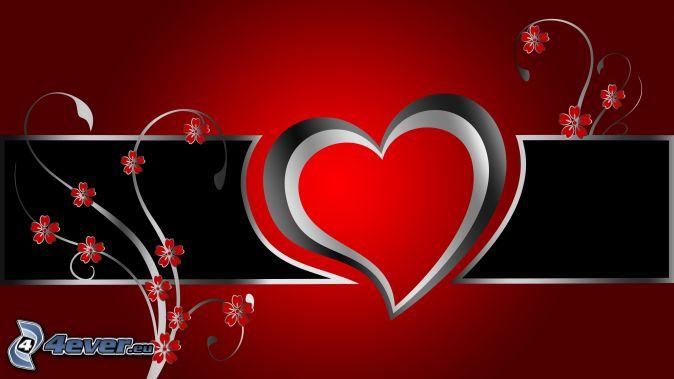 corazón, flores rojas, fondo rojo