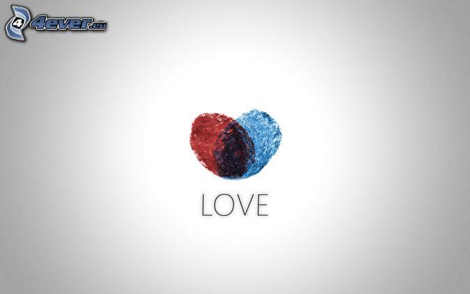 corazón, love, huella dactilar