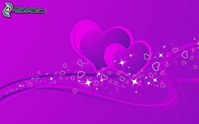 corazones púrpuras, líneas de color púrpura, fondo morado