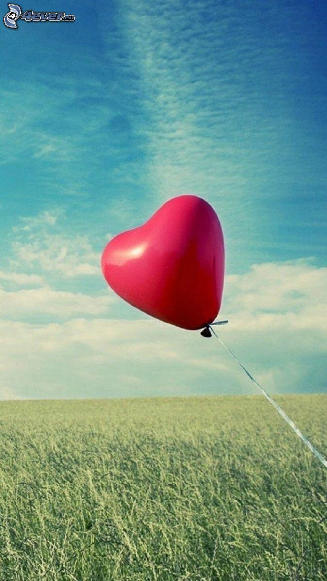 globo, corazón, prado
