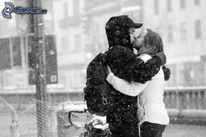 pareja, beso, nieve, la nevada