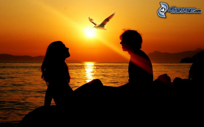 silueta de una pareja, puesta de sol sobre el mar, águila
