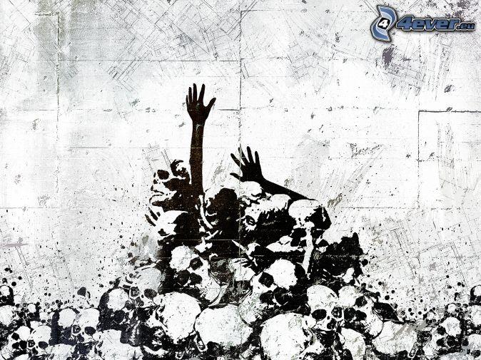 cráneos, manos