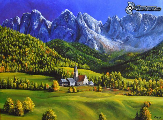 Dolomitas, iglesia, montaña rocosa, bosque