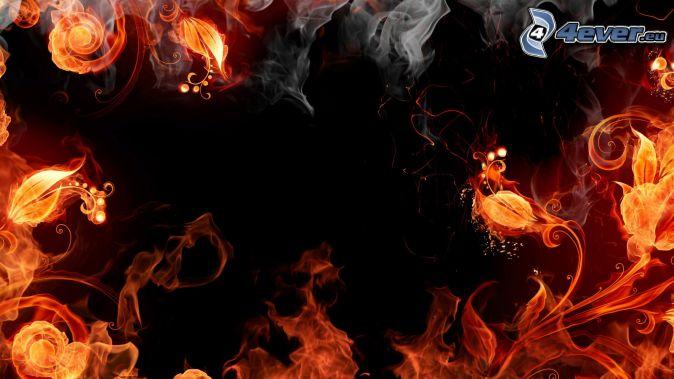 incendio , flor de fuego , humo