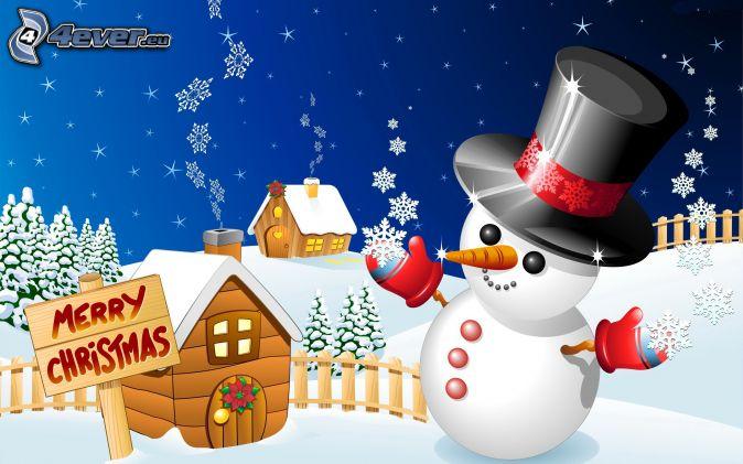 muñeco de nieve, Merry Christmas, barraca, copos de nieve