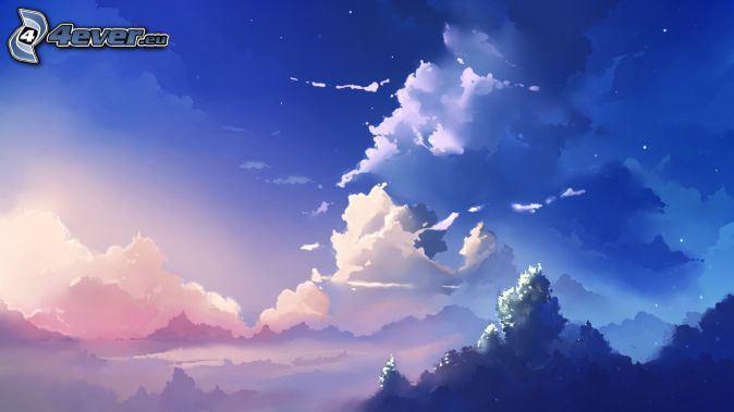 nubes, cielo azul