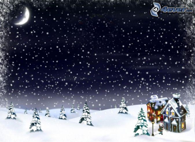 paisaje nevado, noche, mes