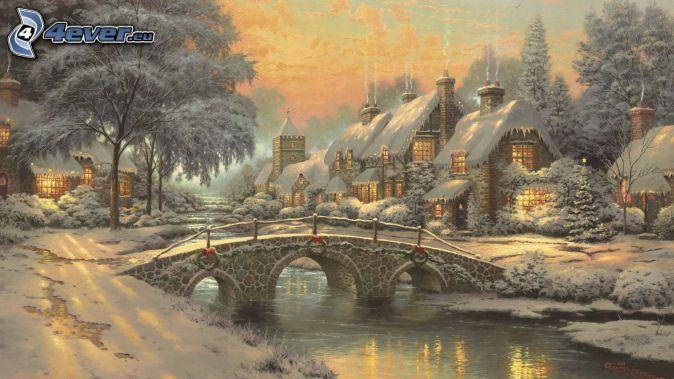 paisaje nevado, puente, río