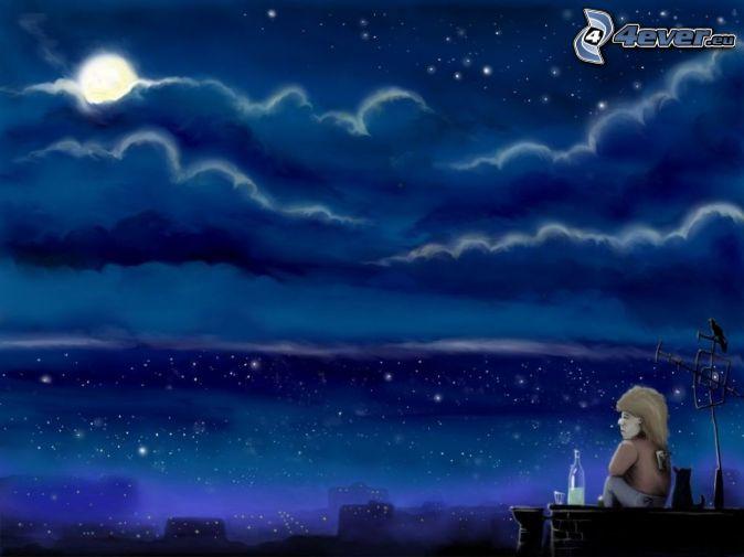 escort noche dibujos animados