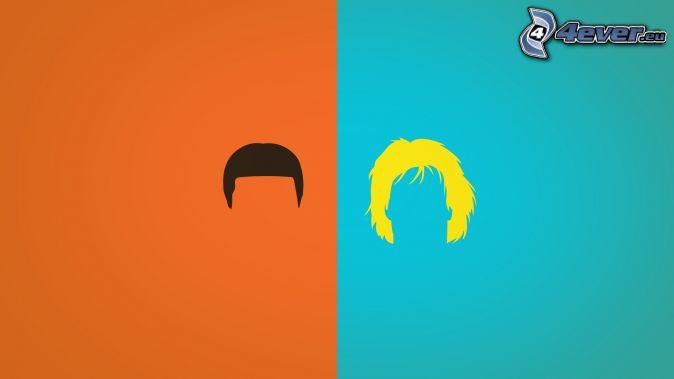 siluetas, cabello