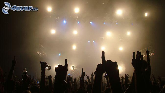 concierto, Fans, multitud, manos, luces
