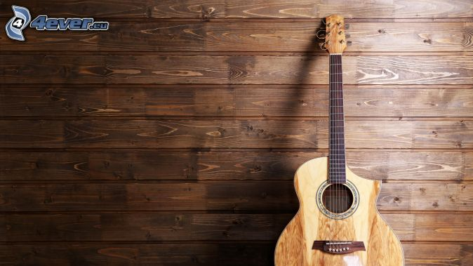 guitarra, pared de madera