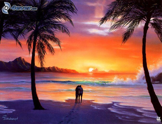 Romantic Sunset Painting