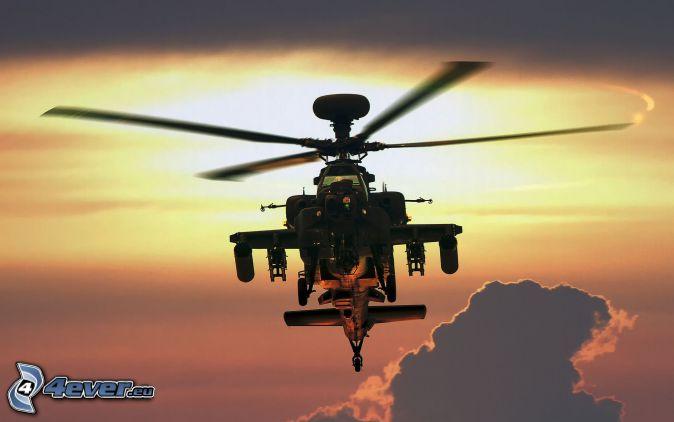 AH-64 Apache, silueta del helicóptero, nubes