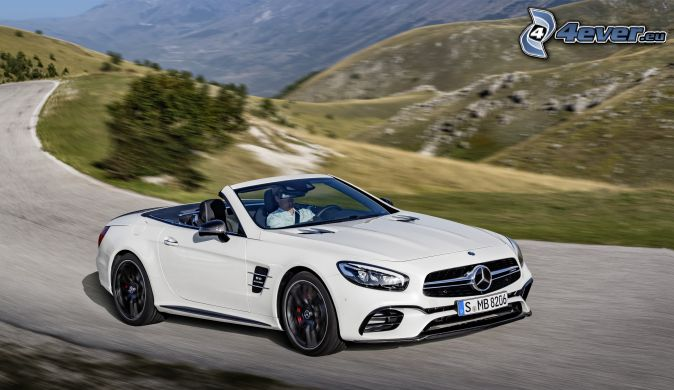 Mercedes-Benz SL63 AMG, descapotable, colina