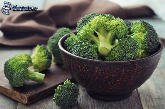 brócoli, tazón, tablero