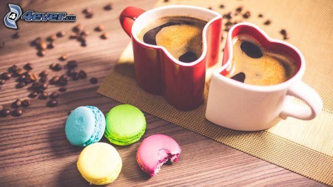 café, corazones, cupcakes, granos de café