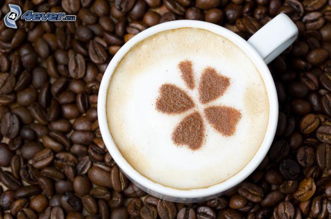 capuchino, espuma, trébol de cuatro hojas, granos de café