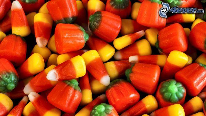 caramelos de colores, calabaza
