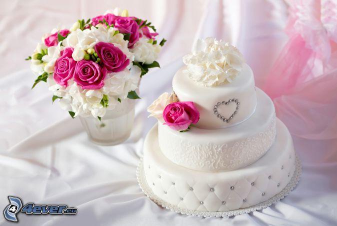 pastel, ramo de la boda, rosas rosas