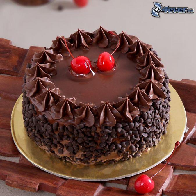 pastel de chocolate, cerezas