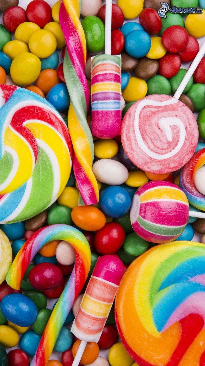 piruletas de colores, caramelos de colores