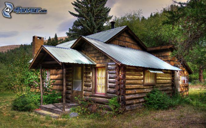 casa-de-madera,-naturaleza,- ...