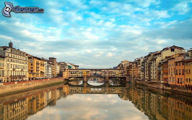 Ponte Vecchio, Florencia, Arno, reflejo, río, puente