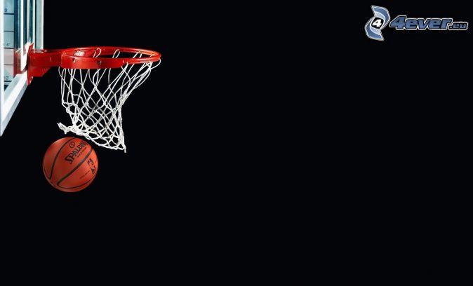 cesto de baloncesto, pelota de baloncesto