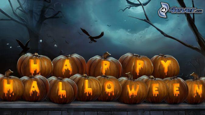 Calabazas de Halloween, Halloween, aves, siluetas de los árboles, noche