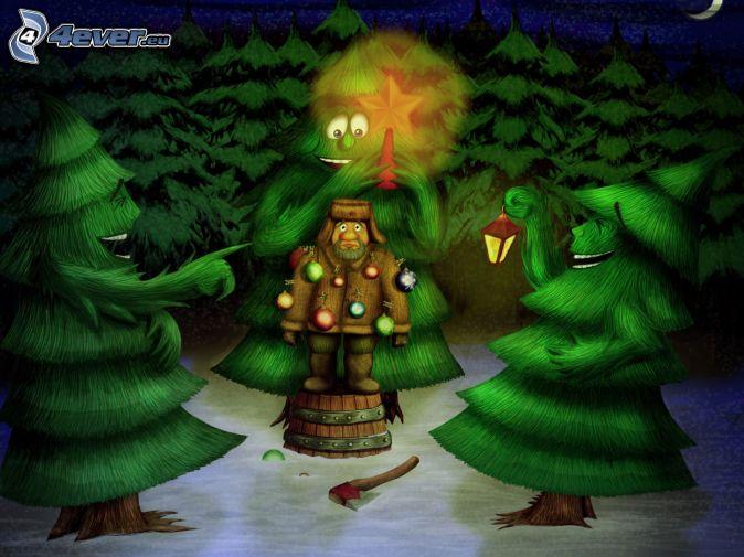 árboles, hombre, adornos navideños, a la inversa